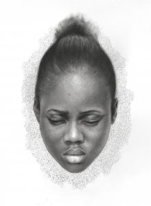 Arinze Stanley -  <strong>Untitled</strong> (2018<strong style = 'color:#635a27'></strong>)<bR /> charcoal and graphite pencil on paper, 23 x 17 inches