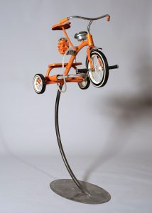 "Bradley Ehrsam -  <strong>Jack</strong> (2017<strong style = 'color:#635a27'></strong>)<bR /> metal, reclaimed objects and hand blown glass  40""L x 20""W x 23""H  $14,000"