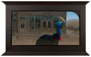 """Josh Tiessen -  <strong>New Sheriff in Town</strong> (2017<strong style = 'color:#635a27'></strong>)<bR /> Oil on Braced Baltic Birch  38 1/2""""H x 62 1/2"""" W (framed)  $23,000"""