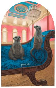 "Josh Tiessen -  <strong>Meerkat Manor</strong> (2019<strong style = 'color:#635a27'></strong>)<bR /> Oil on Braced Baltic Birch  21""H  x 15""W x 2""D  $6,750"