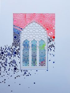 Julia Ibbini -  <strong>Archway No. 25</strong> (2019<strong style = 'color:#635a27'></strong>)<bR /> Laser Cut Paper over Ink on Mylar  21 cm x 30 cm  $500