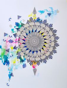Julia Ibbini -  <strong>Bidoun</strong> (2019<strong style = 'color:#635a27'></strong>)<bR /> Laser cut Paper over Ink on Mylar with Hand Applied Swarovski Crystals  100 cm x 125 cm  $9,000
