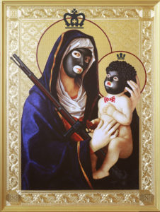 Mark Doox -  <strong>Our Lady And Child of Minstrelsy And Second Amendment Solutions</strong> (2019<strong style = 'color:#635a27'></strong>)<bR /> 36 x 48 x 2.5 inches mixed-media acrylic collage painting on gold painted framed wood panel