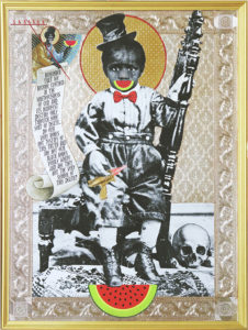 Mark Doox -  <strong>Of Big And Black Bones (Toy Gun) Are Not Our Bones White And Thus A Symbol of Our Deaths</strong> (2019<strong style = 'color:#635a27'></strong>)<bR /> 36 x 48 x 2.5 inches mixed-media acrylic collage painting on gold painted framed wood panel