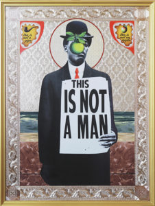 Mark Doox -  <strong>Son Of Man (After Magritte)</strong> (2019<strong style = 'color:#635a27'></strong>)<bR /> 36 x 48 x 2.5 inches mixed-media acrylic collage painting on gold painted framed wood panel