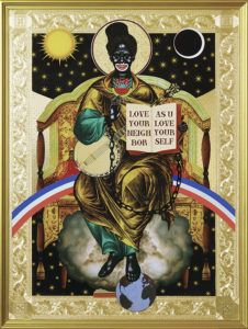 Mark Doox -  <strong>Saint Sambo Triumphant</strong> (2019<strong style = 'color:#635a27'></strong>)<bR /> 36 x 48 x 2.5 inches mixed-media acrylic collage painting on gold painted framed wood panel