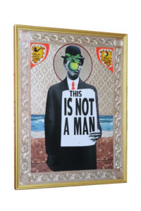Mark Doox -  <strong>Son of Man</strong> (2019<strong style = 'color:#635a27'></strong>)<bR /> 36 x 48 x 2.5 inches, mixed-media acrylic collage painting on gold painted framed wood panel