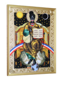 Mark Doox -  <strong>Saint Sambo Triumphant </strong> (2019<strong style = 'color:#635a27'></strong>)<bR /> 36 x 48 x 2.5 inches mixed-media acrylic collage painting on gold painted framed wood panel