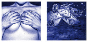"""Juan Francisco Casas -  <strong>Crash 1</strong> (2020<strong style = 'color:#635a27'></strong>)<bR /> Diptych Ballpen on Paper Paper size 11.81"""" x 15.74"""" Image size 5.51"""" x 11.81"""" Framed 13"""" x 20"""""""