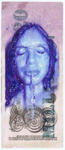 """Juan Francisco Casas -  <strong>Liquid Cash Sofia 2</strong> (2020<strong style = 'color:#635a27'></strong>)<bR /> Bic ballpen and oil on 20 millions marks German Empire banknote from 1923 Unframed 7.87"""" x 3.14"""""""
