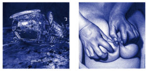 """Juan Francisco Casas -  <strong>Crash 2</strong> (2020<strong style = 'color:#635a27'></strong>)<bR /> Diptych Ballpen on Paper Paper size 11.81"""" x 15.74"""" Image size 5.51"""" x 11.81"""" Framed 13"""" x 20"""""""