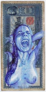 """Juan Francisco Casas -  <strong>Liquid Cash Ana 2</strong> (2020<strong style = 'color:#635a27'></strong>)<bR /> Bic ballpen and oil on 100 marks German Empire banknote from 1910 Unframed  8.26"""" x 3.93"""""""