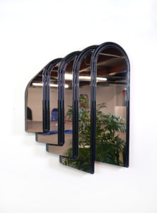 """Jenna Krypell -  <strong>Arches</strong> (2020<strong style = 'color:#635a27'></strong>)<bR /> 23"""" x 19"""" MDF, resin, acrylic paint and high polish stainless steel"""
