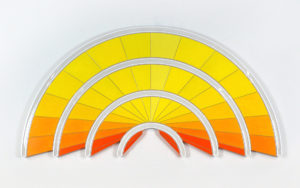 """Jenna Krypell -  <strong>Radiate</strong> (2020<strong style = 'color:#635a27'></strong>)<bR /> 60"""" x 30"""" MDF, resin and acrylic paint"""