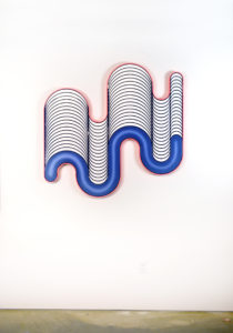 """Jenna Krypell -  <strong>Fluctuate</strong> (2020<strong style = 'color:#635a27'></strong>)<bR /> 46"""" x 46"""" MDF, resin and acrylic paint"""