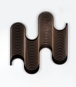 """Jenna Krypell -  <strong>Invert</strong> (2020<strong style = 'color:#635a27'></strong>)<bR /> 47"""" x 43"""" MDF, resin and acrylic paint"""