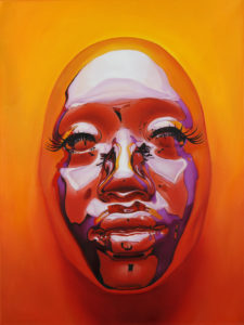 """Kip Omolade -  <strong>Diovadiova Chrome Kitty Cash X</strong> (2021<strong style = 'color:#635a27'></strong>)<bR /> Oil on linen, 18"""" x 24"""