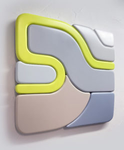 """Francesco LoCastro -  <strong>BroadSynopsis</strong> (2021<strong style = 'color:#635a27'></strong>)<bR /> Acrylic, spray enamel, and epoxy resin on MDF 24"""" x 24"""" x 2"""""""