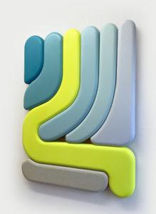 "Francesco LoCastro -  <strong>Righeira</strong> (2021<strong style = 'color:#635a27'></strong>)<bR /> Acrylic, spray enamel, and epoxy resin on MDF 27"" x 36"" x 2"""