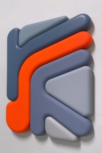 """Francesco LoCastro -  <strong>The Line</strong> (2021<strong style = 'color:#635a27'></strong>)<bR /> Acrylic, spray enamel, and epoxy resin on MDF 20"""" x 23"""" x 2"""""""