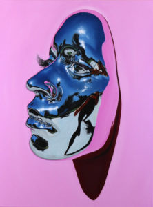"""Kip Omolade -  <strong>Diovadiova Chrome Karyn (Light Pink) I</strong> (2021<strong style = 'color:#635a27'></strong>)<bR /> Oil on linen, 18"""" x 24"""