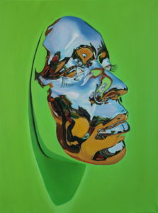 """Kip Omolade -  <strong>Diovadiova Chrome Karyn (Lime) I</strong> (2021<strong style = 'color:#635a27'></strong>)<bR /> Oil on linen, 18"""" x 24"""
