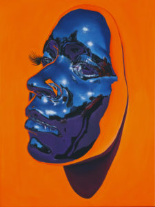 """Kip Omolade -  <strong>Diovadiova Chrome Karyn (Orange) I</strong> (2021<strong style = 'color:#635a27'></strong>)<bR /> Oil on linen, 18"""" x 24"""