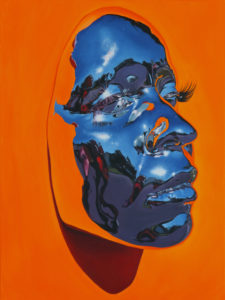 """Kip Omolade -  <strong>Diovadiova Chrome Karyn (Orange) II</strong> (2021<strong style = 'color:#635a27'></strong>)<bR /> Oil on linen, 18"""" x 24"""