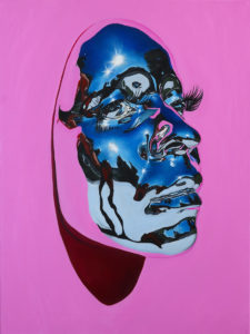 """Kip Omolade -  <strong>Diovadiova Chrome Karyn (Pink) I</strong> (2021<strong style = 'color:#635a27'></strong>)<bR /> Oil on linen, 18"""" x 24"""